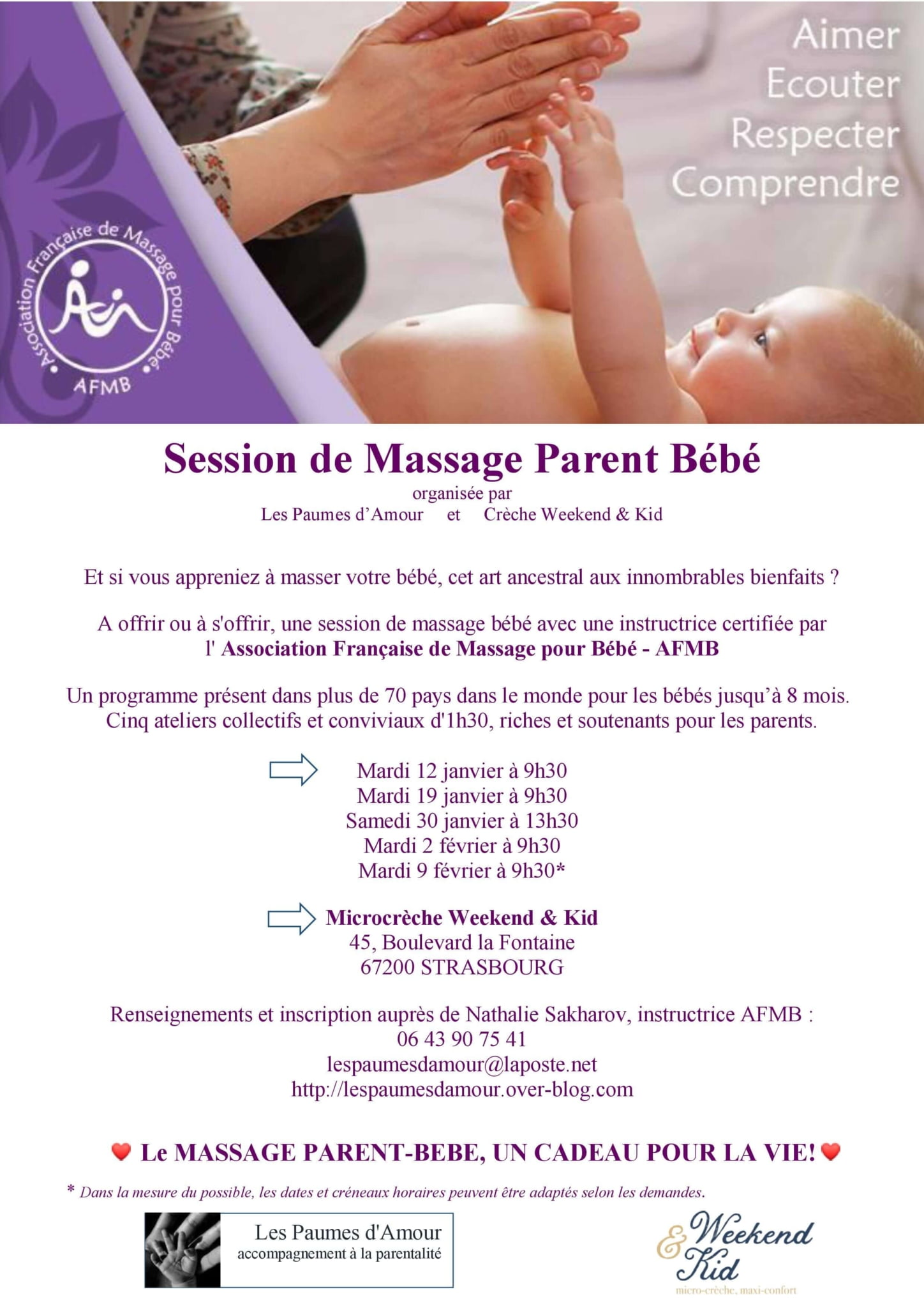 Affiche Session de Massage Parent Bébé